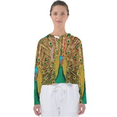 Peacock Feather Bird Peafowl Women s Slouchy Sweat by Wegoenart