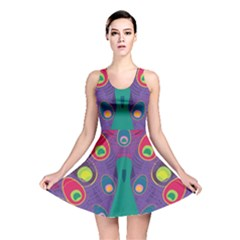 Peacock Bird Animal Feathers Reversible Skater Dress by Wegoenart