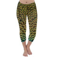 Peacock Bird Feather Color Capri Winter Leggings  by Wegoenart