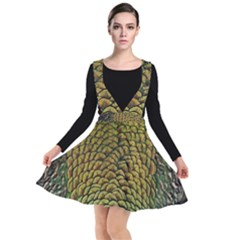 Peacock Bird Feather Color Plunge Pinafore Dress by Wegoenart