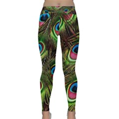 Peacock Feathers Feather Color Classic Yoga Leggings by Wegoenart