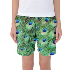 Peacock Feathers Peafowl Women s Basketball Shorts by Wegoenart