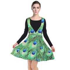 Peacock Feathers Peafowl Plunge Pinafore Dress by Wegoenart