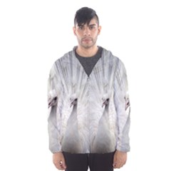 Peacock White Bird Nature Hooded Windbreaker (men) by Wegoenart