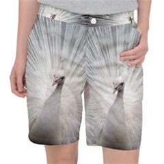 Peacock White Bird Nature Pocket Shorts by Wegoenart