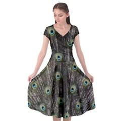 Background Peacock Feathers Cap Sleeve Wrap Front Dress by Wegoenart