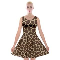 Giraffe Animal Print Skin Fur Velvet Skater Dress by Wegoenart