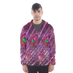 Peacock Feathers Color Plumage Hooded Windbreaker (men) by Wegoenart