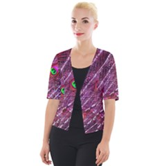 Peacock Feathers Color Plumage Cropped Button Cardigan by Wegoenart