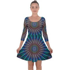 Fractal Peacock Rendering Quarter Sleeve Skater Dress by Wegoenart