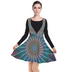 Fractal Peacock Rendering Plunge Pinafore Dress by Wegoenart