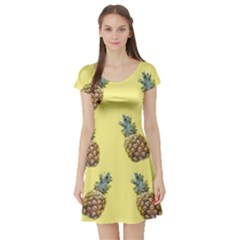 Pineapples Fruit Pattern Texture Short Sleeve Skater Dress by Simbadda