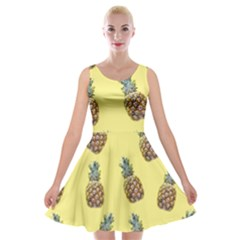 Pineapples Fruit Pattern Texture Velvet Skater Dress by Simbadda