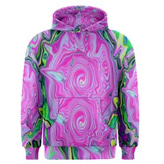 Groovy Pink, Blue And Green Abstract Liquid Art Men s Pullover Hoodie by myrubiogarden
