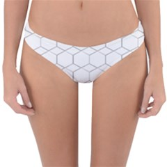 Honeycomb Pattern Black And White Reversible Hipster Bikini Bottoms by picsaspassion