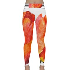 Red Tulip And Black Stripes Classic Yoga Leggings by picsaspassion