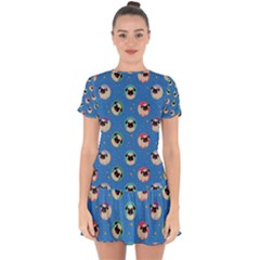 Pugs In Circles With Stars Drop Hem Mini Chiffon Dress
