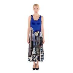 Las Vegas Strip Style Sleeveless Maxi Dress by CrypticFragmentsDesign