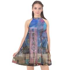Las Vegas Strip Walking Tour Halter Neckline Chiffon Dress  by CrypticFragmentsDesign
