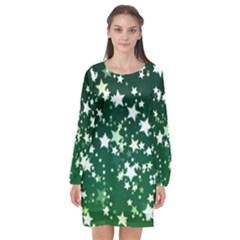 Christmas Star Advent Background Long Sleeve Chiffon Shift Dress  by Wegoenart