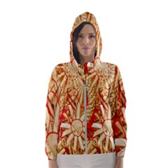 Christmas Straw Xmas Gold Hooded Windbreaker (women)