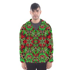 Christmas Kaleidoscope Pattern Hooded Windbreaker (men) by Wegoenart