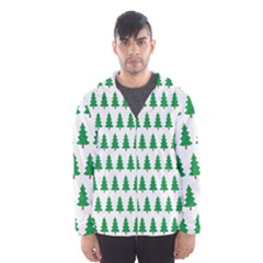 Christmas Background Christmas Tree Hooded Windbreaker (men) by Wegoenart