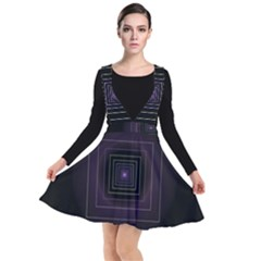 Fractal Square Modern Purple Plunge Pinafore Dress by Wegoenart