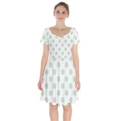 Green Dots Modern Pattern Paper Short Sleeve Bardot Dress by Wegoenart