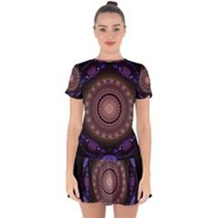 Fractal Neon Blue Energy Fantasy Drop Hem Mini Chiffon Dress by Wegoenart