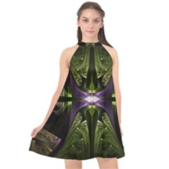 Fractal Green Tin Pattern Texture Halter Neckline Chiffon Dress  by Wegoenart