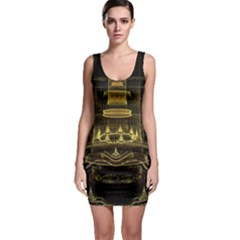 Fractal City Geometry Lights Night Bodycon Dress