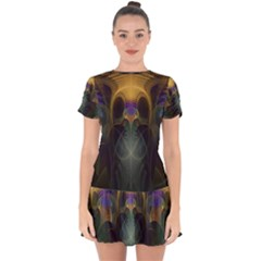 Fractal Colorful Pattern Design Drop Hem Mini Chiffon Dress by Wegoenart