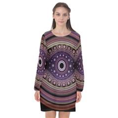 Fractal Pink Eye Fantasy Pattern Long Sleeve Chiffon Shift Dress  by Wegoenart