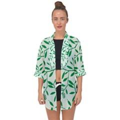 Leaves Foliage Green Wallpaper Open Front Chiffon Kimono by Wegoenart