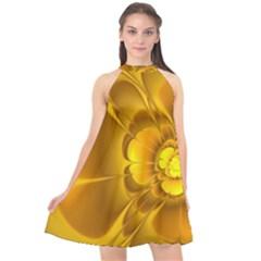 Fractal Yellow Flower Floral Halter Neckline Chiffon Dress  by Wegoenart