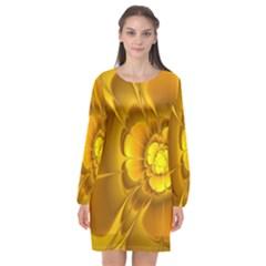 Fractal Yellow Flower Floral Long Sleeve Chiffon Shift Dress  by Wegoenart