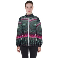Fractal Circle Fantasy Texture High Neck Windbreaker (women) by Wegoenart
