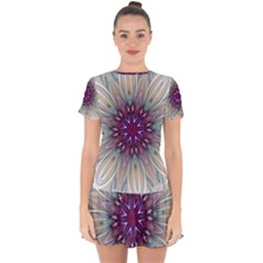 Mandala Kaleidoscope Ornament Drop Hem Mini Chiffon Dress by Wegoenart