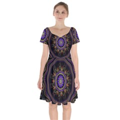 Fractal Vintage Colorful Decorative Short Sleeve Bardot Dress by Wegoenart