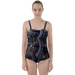 Fractal Circle Circular Geometry Twist Front Tankini Set by Wegoenart