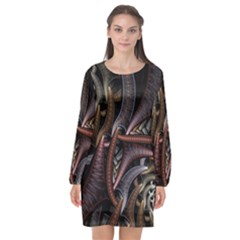 Geometry Math Fractal Art Long Sleeve Chiffon Shift Dress  by Wegoenart