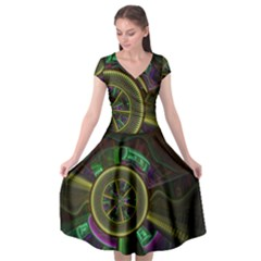 Fractal Threads Colorful Pattern Cap Sleeve Wrap Front Dress by Wegoenart