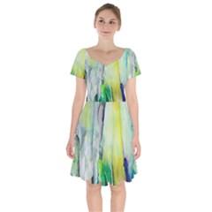 Art Abstract Modern Abstract Short Sleeve Bardot Dress by Wegoenart
