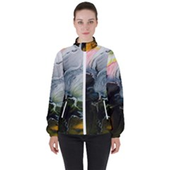 Art Abstract Painting Abstract High Neck Windbreaker (women) by Wegoenart