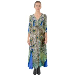 Peacock Bird Colorful Plumage Button Up Boho Maxi Dress by Wegoenart