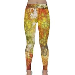 Autumn Kaleidoscope Art Pattern Classic Yoga Leggings by Wegoenart