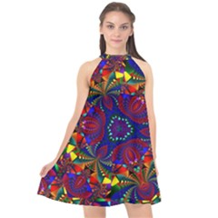 Kaleidoscope Pattern Ornament Halter Neckline Chiffon Dress  by Wegoenart