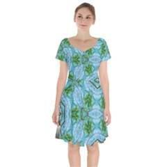 Forest Kaleidoscope Pattern Short Sleeve Bardot Dress by Wegoenart