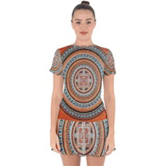 Mandala Art Painting Acrylic Drop Hem Mini Chiffon Dress by Wegoenart